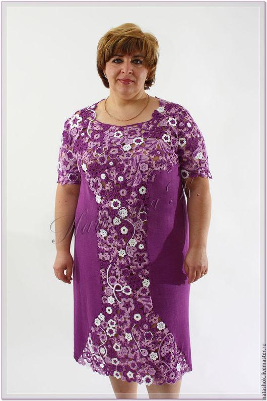 Большие размеры ручной работы. Ярмарка Мастеров - ручная работа. Купить Платье Вдохновение. Handmade. Фиолетовый, платье летнее