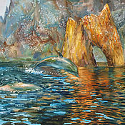 Картины и панно handmade. Livemaster - original item Watercolor painting Golden gate of Karadag. Seascape.. Handmade.