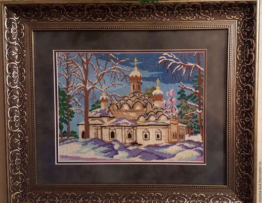 Город ручной работы. Ярмарка Мастеров - ручная работа. Купить Храм зимой. Handmade. Белый, вышивание, вышивание крестиком