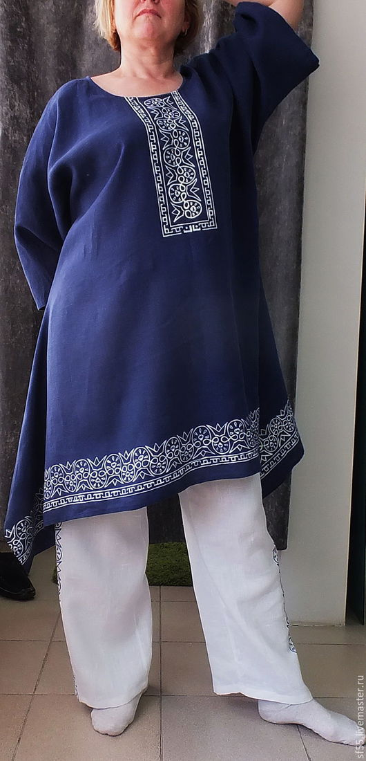 """Большие размеры ручной работы. Ярмарка Мастеров - ручная работа. Купить Туника блузка """" Русские мотивы"""" из льна. Handmade."""