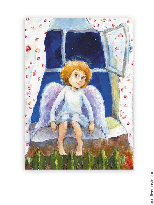 Детская ручной работы. Ярмарка Мастеров - ручная работа. Купить Ангел прилетел Авторский принт. Handmade. Синий, картина в детскую