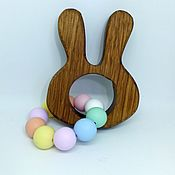 Куклы и игрушки handmade. Livemaster - original item Teething toy with wooden beads silicone Rabbit. Handmade.