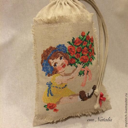 """Для дома и интерьера ручной работы. Ярмарка Мастеров - ручная работа. Купить Винтажный льняной мешочек для детей """" Маленькая леди"""". Handmade."""