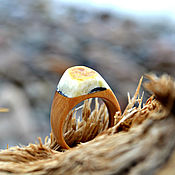Украшения handmade. Livemaster - original item Wooden ring with Baltic raw amber. Handmade.