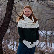 """Аксессуары ручной работы. Ярмарка Мастеров - ручная работа вязаный шарф-снуд """"Цветы"""" и варежки. Handmade."""