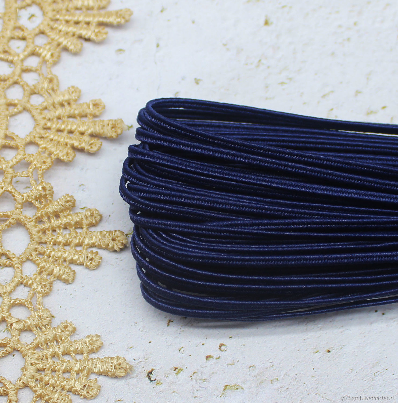 Сутаж белорусский 2,5 мм Темно-синий 1 метр, Шнуры, Соликамск,  Фото №1