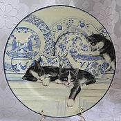 Посуда ручной работы. Ярмарка Мастеров - ручная работа Тарелочка Забавные котята. Handmade.