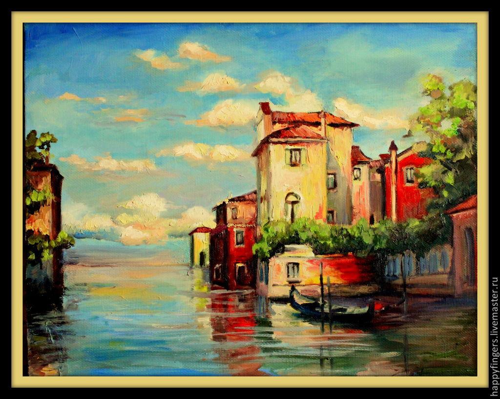 """Пейзаж ручной работы. Ярмарка Мастеров - ручная работа. Купить Картина маслом """"Маленькая Венеция"""", Италия. Handmade. Венеция, пейзаж"""