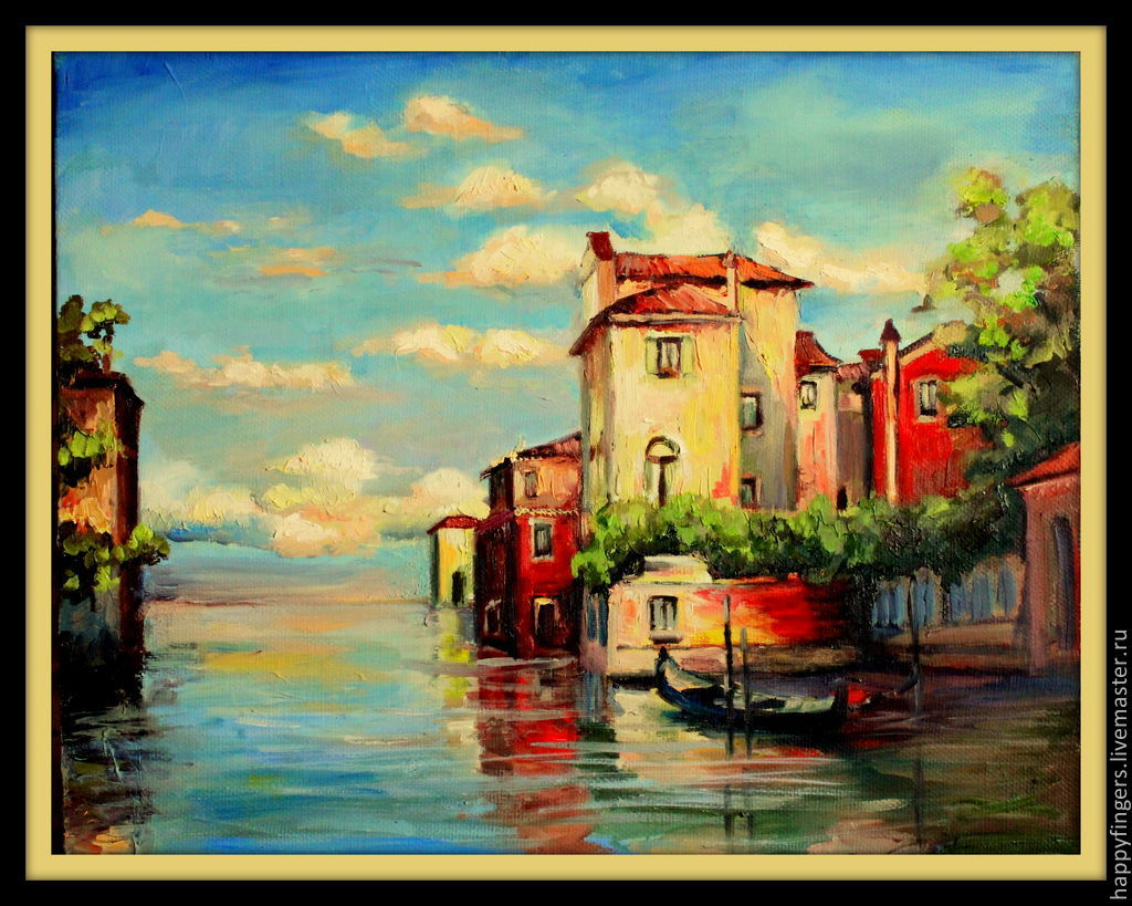Oil painting 'Little Venice', Italy, Pictures, Elektrostal,  Фото №1