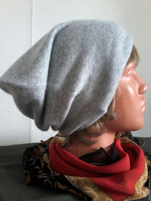Шапки ручной работы. Ярмарка Мастеров - ручная работа. Купить Шапочка кашемировая двухцветная. Handmade. Серый, духслойная шапка