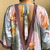 Одежда handmade. Livemaster - original item Long, loose cotton dress-Memoirs of a geisha, delicate roses. Handmade.