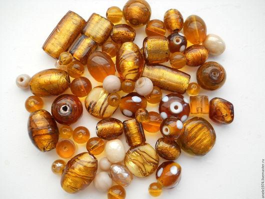 """Для украшений ручной работы. Ярмарка Мастеров - ручная работа. Купить Набор индийских бусин стекло """"Коричневое золото"""" для украшений 100 гр. Handmade."""