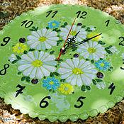"""Для дома и интерьера ручной работы. Ярмарка Мастеров - ручная работа Часы """"Букет нежности"""", стекло, фьюзинг. Handmade."""