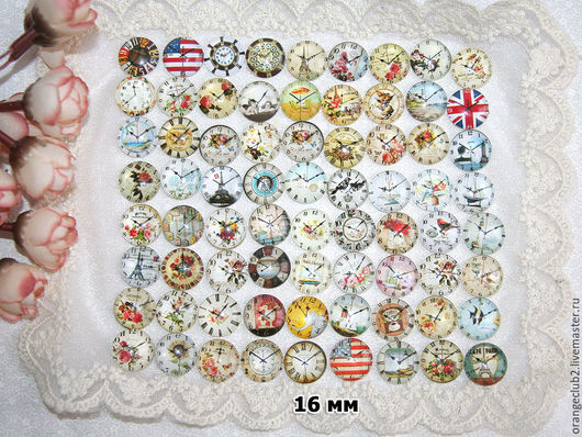 Куклы и игрушки ручной работы. Ярмарка Мастеров - ручная работа. Купить 16 мм Стеклянные кабошоны часы. Handmade.