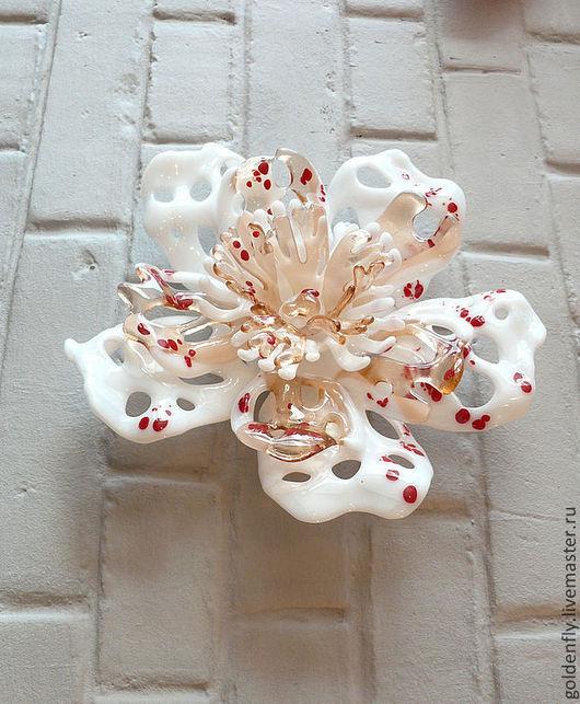 """Декор поверхностей ручной работы. Ярмарка Мастеров - ручная работа. Купить """"Аромат белого пиона"""" цветное стекло, фьюзинг. Handmade."""