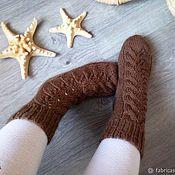Аксессуары ручной работы. Ярмарка Мастеров - ручная работа Вязаные вручную шерстяные носки цвета молочного шоколада. Handmade.
