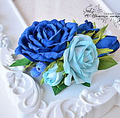 """Украшения ручной работы. Ярмарка Мастеров - ручная работа Заколка с розами """"Синяя даль"""". Handmade."""
