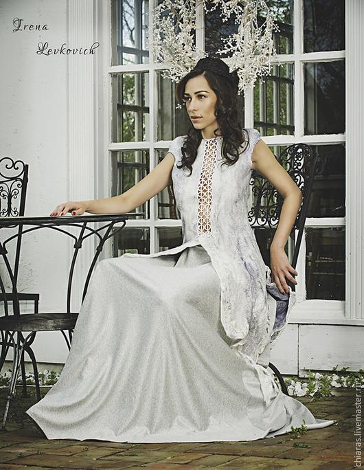 Платья ручной работы. Ярмарка Мастеров - ручная работа. Купить Туника и юбка в светло-серых тонах из шелка и шерсти. Handmade.