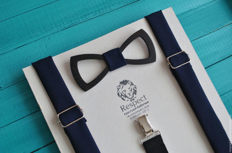Wooden tie necktie dark blue with suspenders, Ties, Moscow,  Фото №1
