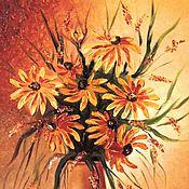 """Картины и панно ручной работы. Ярмарка Мастеров - ручная работа """"Солнечная рудбекия"""" Картина маслом Цветы в вазе. Handmade."""