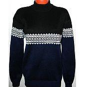 Одежда handmade. Livemaster - original item Men`s sweater with ornament (blue with black). Handmade.
