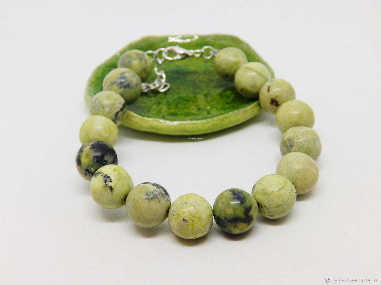 Lime Bracelet (serpentinite), Bead bracelet, Gatchina,  Фото №1