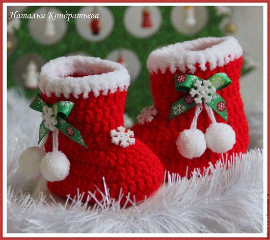 Для новорожденных, ручной работы. Ярмарка Мастеров - ручная работа. Купить Пинетки новогодние. Handmade. Ярко-красный, пинетки для малыша
