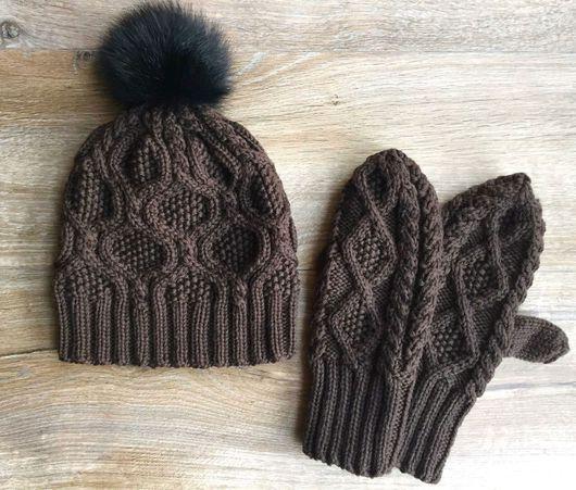 Шапки ручной работы. Ярмарка Мастеров - ручная работа. Купить Вязаная шапка и рукавички. Handmade. Вязаная шапка, рукавички