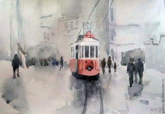 Город ручной работы. Ярмарка Мастеров - ручная работа. Купить Трамвай. Handmade. Серый, город, трамвай, дождь