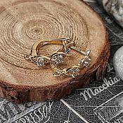Материалы для творчества handmade. Livemaster - original item 16,5 mm earrings with zircons with gold plated lock (4346). Handmade.