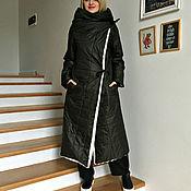 Одежда ручной работы. Ярмарка Мастеров - ручная работа Пальто-одеяло на меховом подкладе темно зеленое. Handmade.