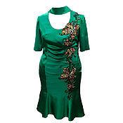 """Одежда ручной работы. Ярмарка Мастеров - ручная работа Роскошное шелковое платье с вышивкой """"Изумрудные Орхидеи"""" на Ваш разме. Handmade."""