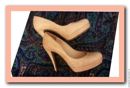 Винтажная обувь. Ярмарка Мастеров - ручная работа. Купить туфли Оригинал из экзотической кожи змеи. Handmade. Бежевый