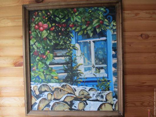 Эх, яблочки, полешечки...Картина маслом в деревенском стиле.