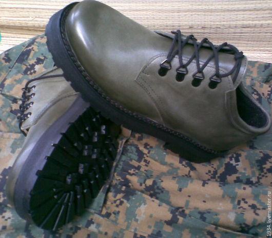 Обувь ручной работы. Ярмарка Мастеров - ручная работа. Купить ботинки женские OLIVE. Handmade. Оливковый, летняя обувь