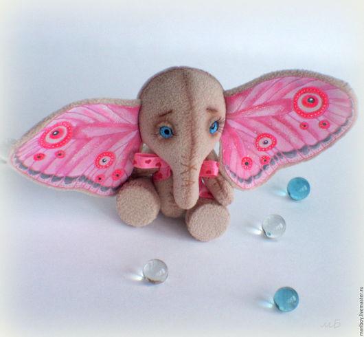"""Игрушки животные, ручной работы. Ярмарка Мастеров - ручная работа. Купить Маленький слоник - Слонобабочка """"Розочка"""". Handmade. Розовый"""
