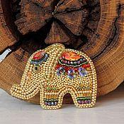 Брошь Золотой Слон