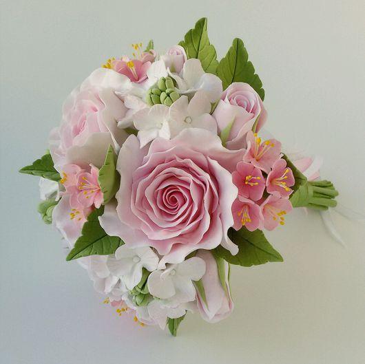 """Свадебные цветы ручной работы. Ярмарка Мастеров - ручная работа. Купить Мини-букет в руку """"Розовая мечта"""". Handmade."""