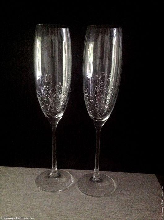 Свадебные аксессуары ручной работы. Ярмарка Мастеров - ручная работа. Купить Свадебные бокалы для шампанского. Handmade. Серебряный, зимняя свадьба