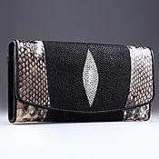 Сумки и аксессуары handmade. Livemaster - original item Sea Stingray and Python Leather wallet IMCP0018BZ1. Handmade.