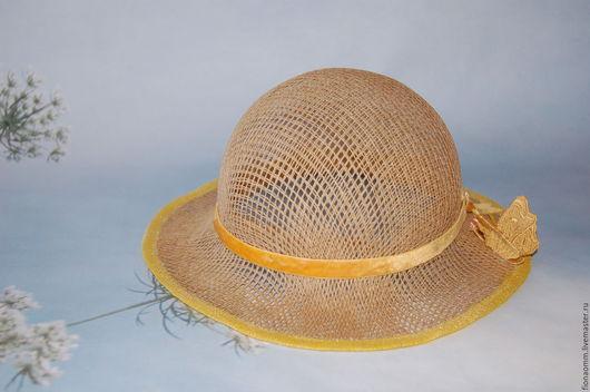 """Шляпы ручной работы. Ярмарка Мастеров - ручная работа. Купить Шляпка летняя """"Мотылек"""".. Handmade. Бежевый, шляпка для девушки"""