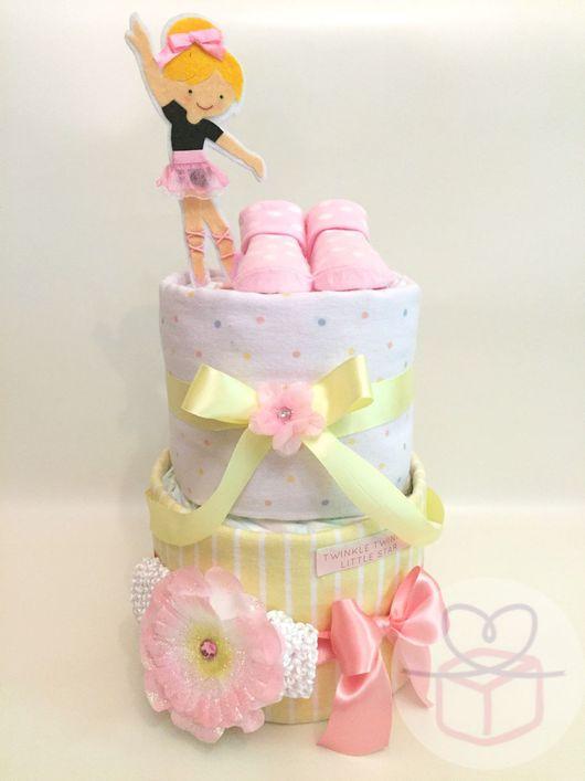 """Подарки для новорожденных, ручной работы. Ярмарка Мастеров - ручная работа. Купить Торт из подгузников """"Балеринка- неженка"""". Handmade. Подарок новорожденному"""