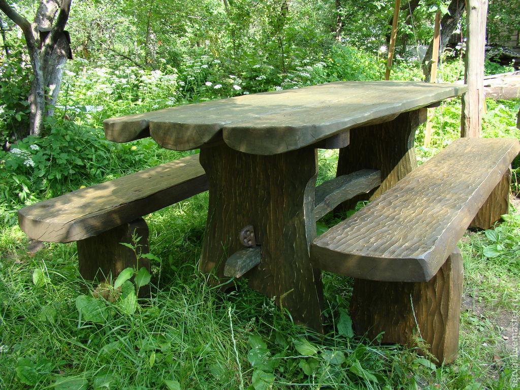 Стол на даче из дерева своими руками 72