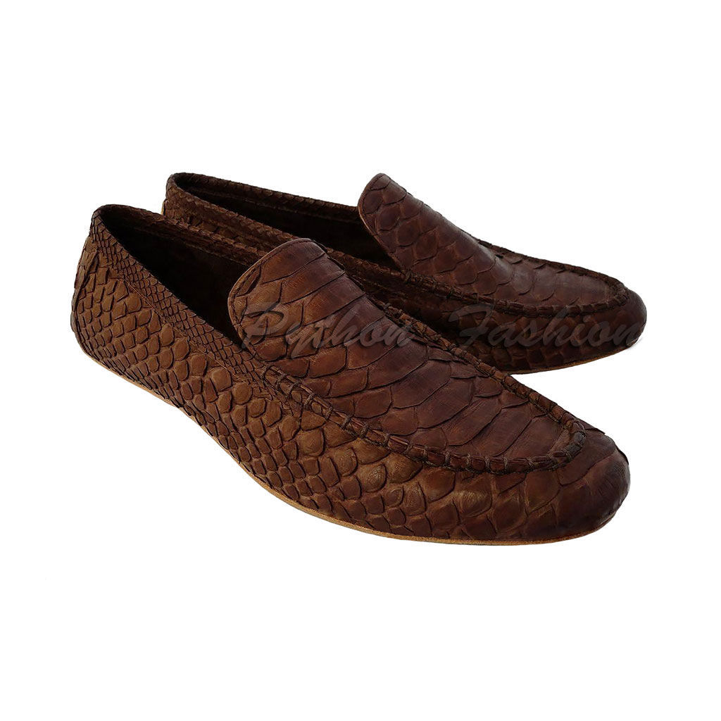 Moccasins from Python. Men's loafers from Python. Moccasins from Python handmade. Men's shoes Python skin custom. Fashionable moccasins from Python. Economie loafers. Stylish men's shoes from Python