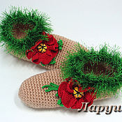 """Обувь ручной работы. Ярмарка Мастеров - ручная работа Тапочки вязаные """"Маки"""".. Handmade."""