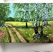 Картины и панно ручной работы. Ярмарка Мастеров - ручная работа 24.Картина маслом В тени берез 30 на 40 см лето зеленый желтый голубой. Handmade.
