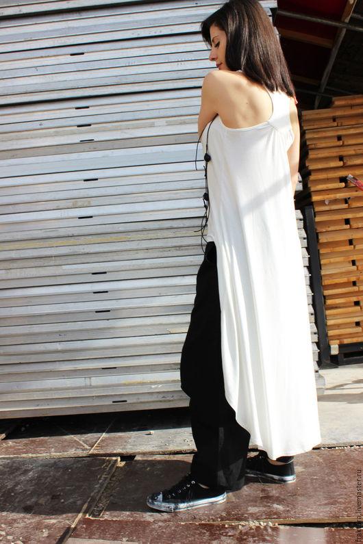 Топы ручной работы. Ярмарка Мастеров - ручная работа. Купить Длинная майка B0005 - белая. Handmade. Белый, летняя блузка