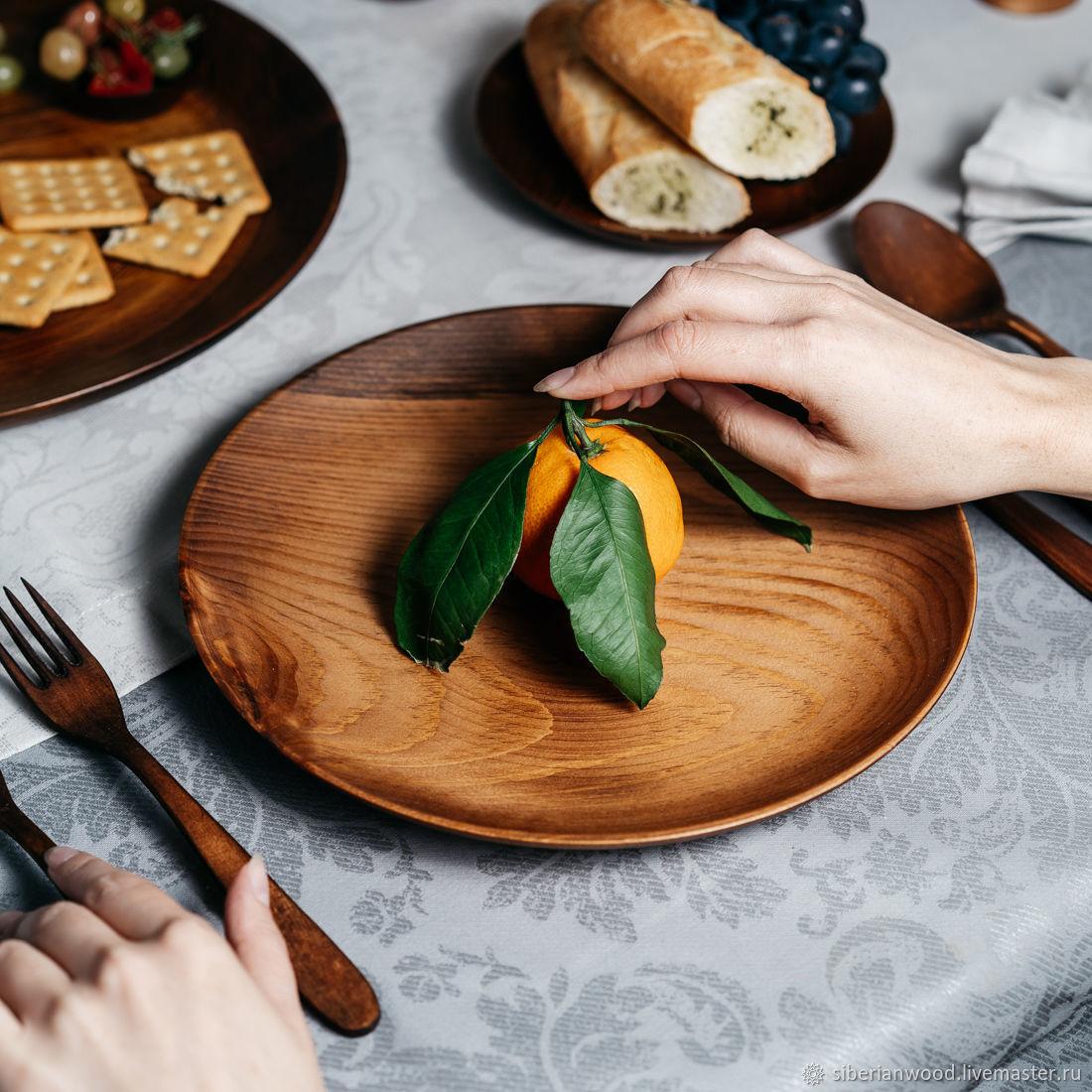 Wooden flat plate Siberian Cedar kitchen utensils #T107, Plates, Novokuznetsk,  Фото №1
