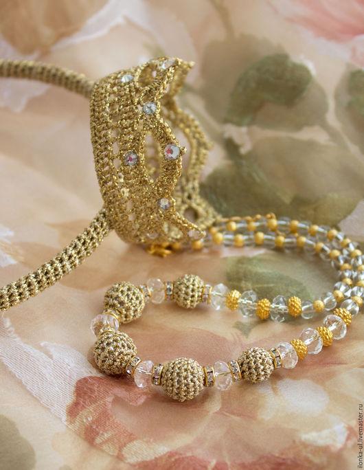 Детская бижутерия ручной работы. Ярмарка Мастеров - ручная работа. Купить Комплект Принцесса в золотом: ободок с короной и ожерелье. Handmade.