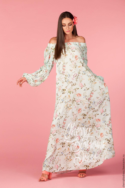 Платье цветочное макси